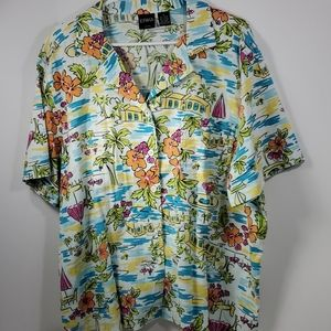 Erika Hawaiian floral button down shirt 2xl